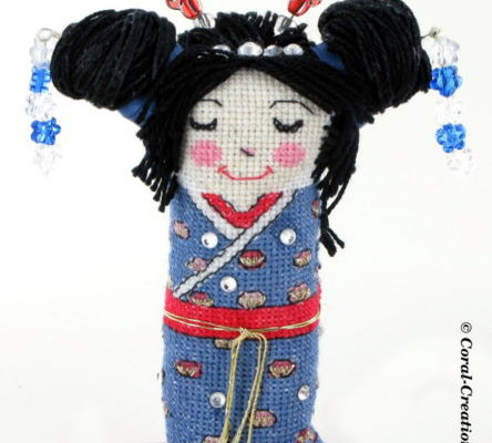 Original hand-made cross stitch kokeshi doll