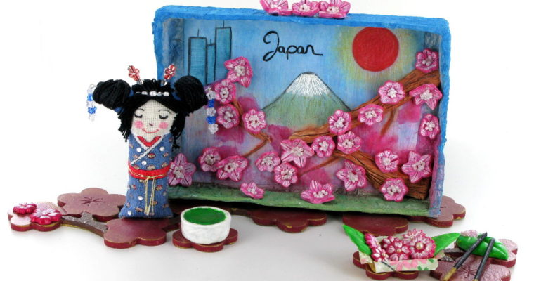 Original hand-made kokeshi doll,  shadow box and miniatures