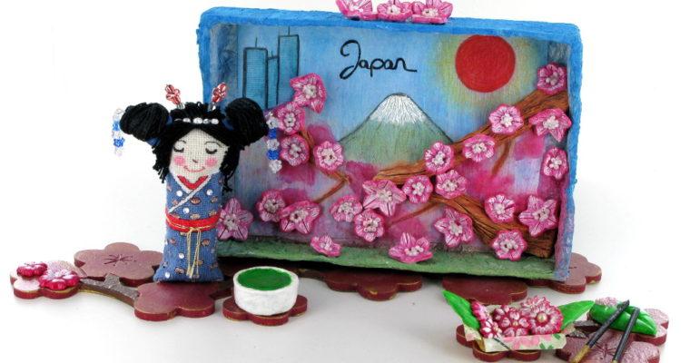 Original hand-made kokeshi doll,  shadow box and miniatures