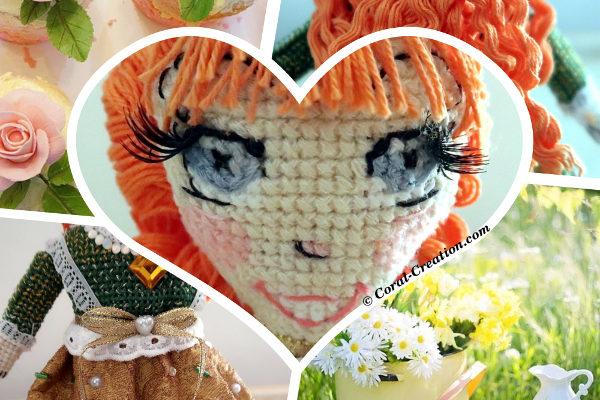 Original hand-made cross stitch doll (Camille)