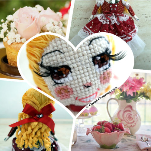 Original hand-made cross stitch doll (Madeleine)