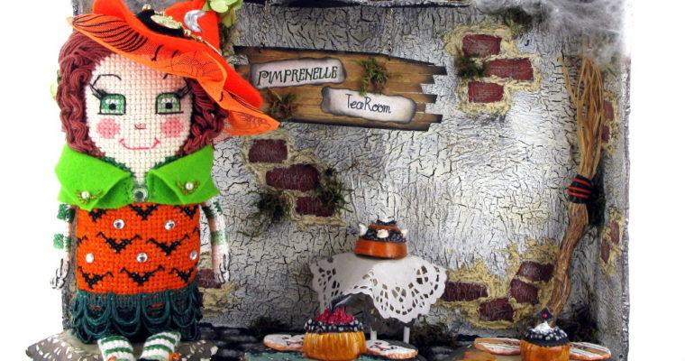Spooky original hand-made doll, shadow box and miniatures