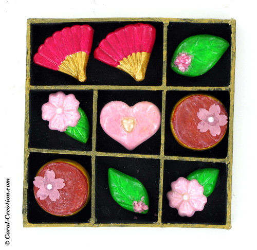 Japanese rakugan sweets in a box